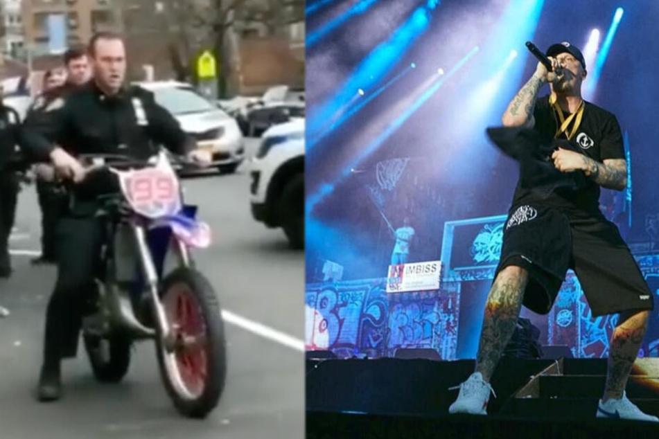 Der Stunt-Polizist (links) und Bonez MC bei einem Konzert der 187 Starssenbande
