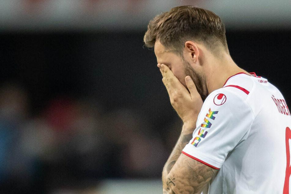 Die Enttäuschung ist groß. Marco Höger direkt nach dem 0:4 gegen Hertha.