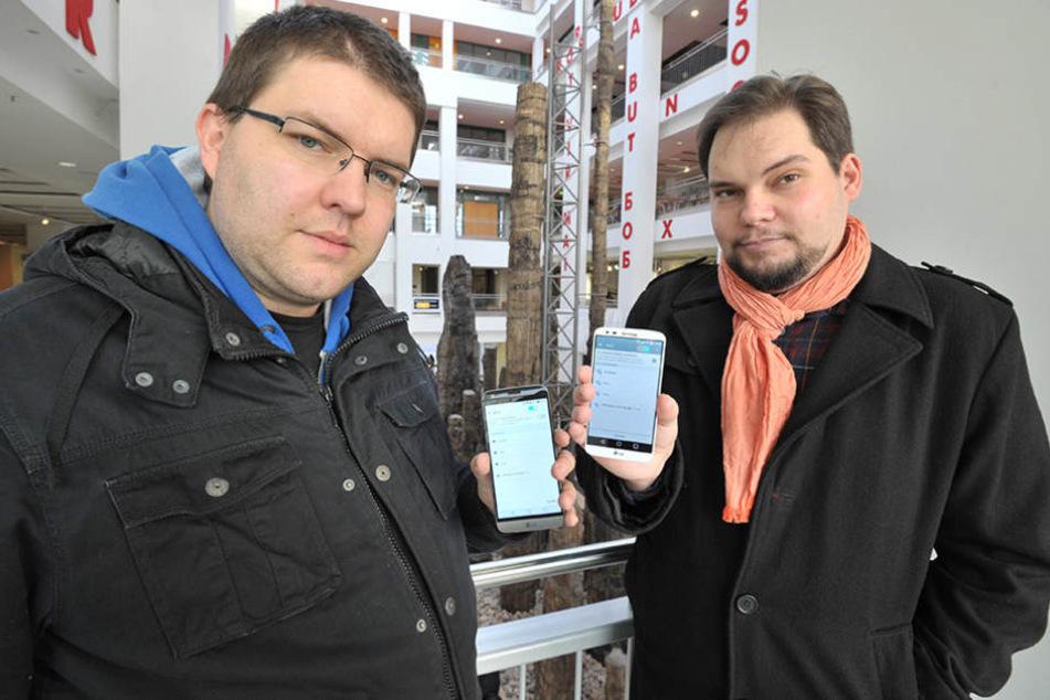 Sie fordern die Rückkehr des WLAN ins Tietz: Steffen Förster (31, li.) und Toni  Rotter (28).