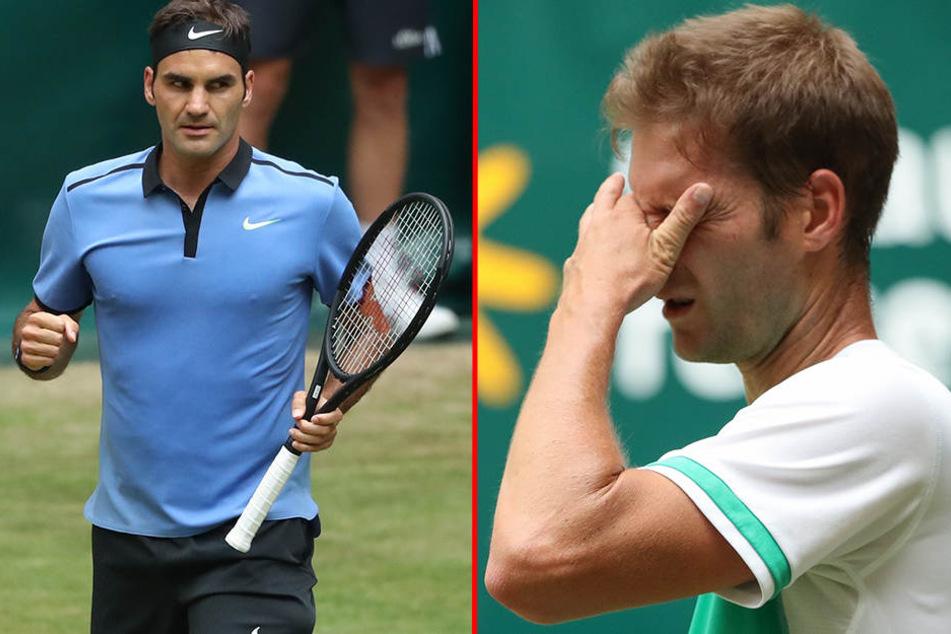 Während Roger Federer (l.) im Halbfinale steht, ist Titelverteidiger Florian Mayer sichtlich enttäuscht.