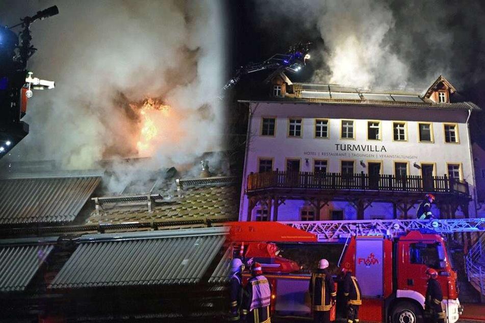 Großbrand in sächsischem Hotel: Fast 100 Feuerwehrleute im Einsatz, Haus total zerstört!