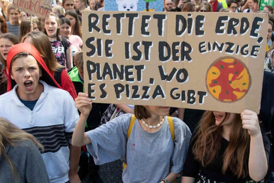 """Rund 350 Schüler versammelten sich in Wiesbaden zur """"Fridays for Future""""-Demo."""