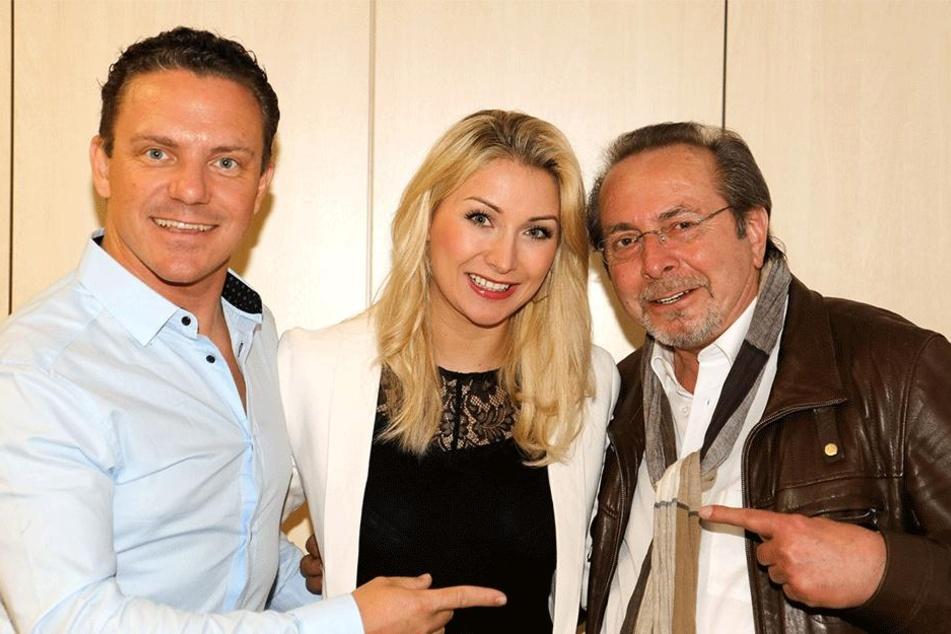 Mross und Woitschack mit TAG24-Mitarbeiter Stephan Malzdorf.