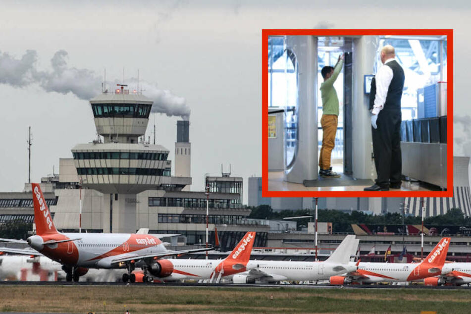 Zwei zusätzliche Kontrollstellen sollen die Passagier-Abwicklung am Berliner Flughafen Tegel beschleunigen. (Bildmontage)