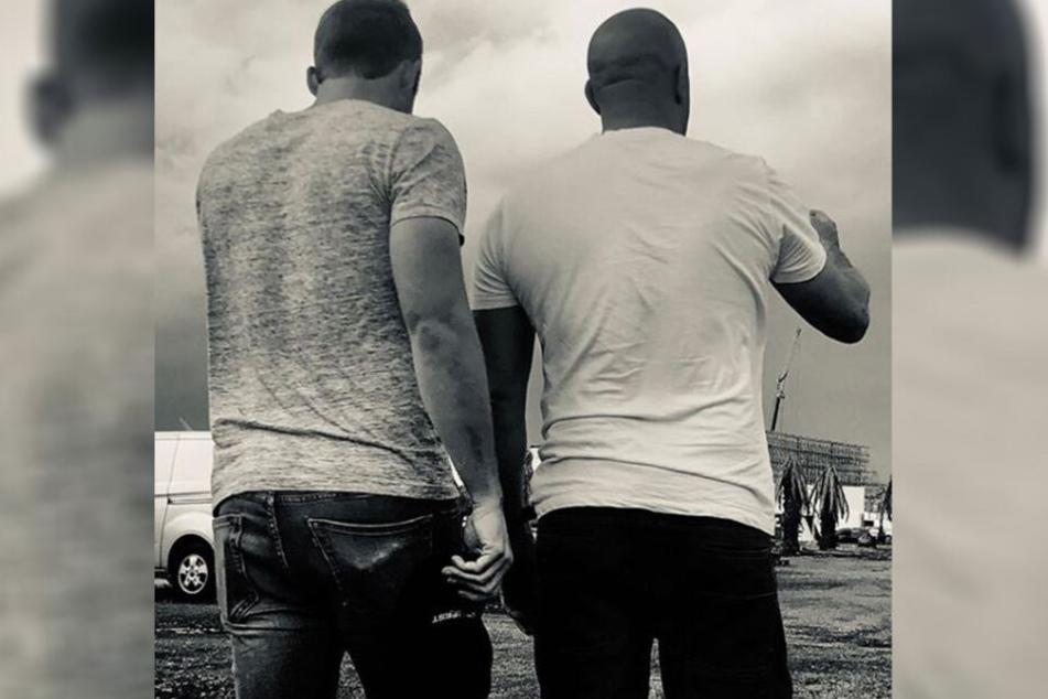 Cody Walker und Vin Diesel am Set zu Fast & Furious 9.