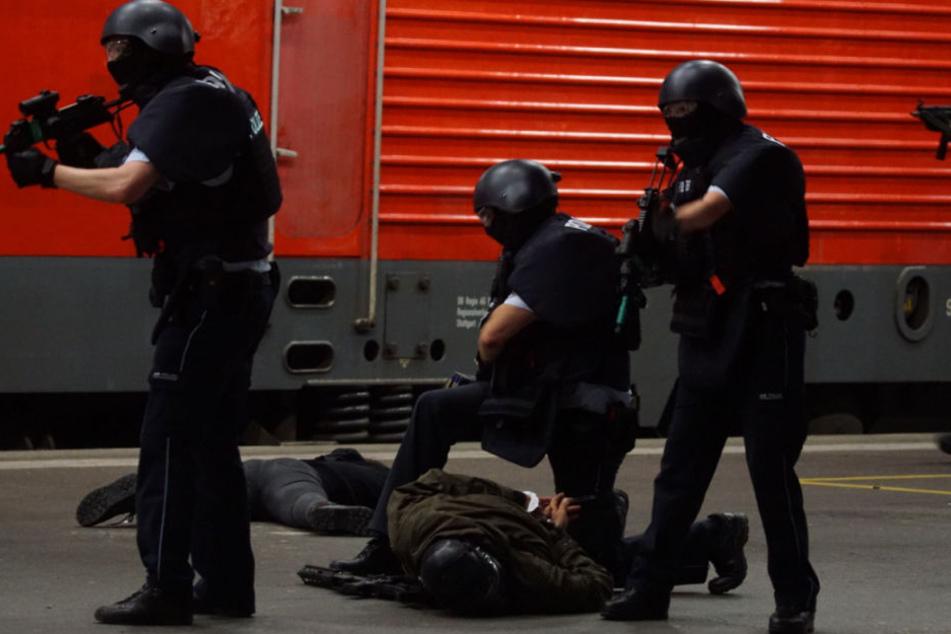 Für die Presse legt die Polizei eine Extra-Show hin, um im Ernstfall unberechenbar zu bleiben.