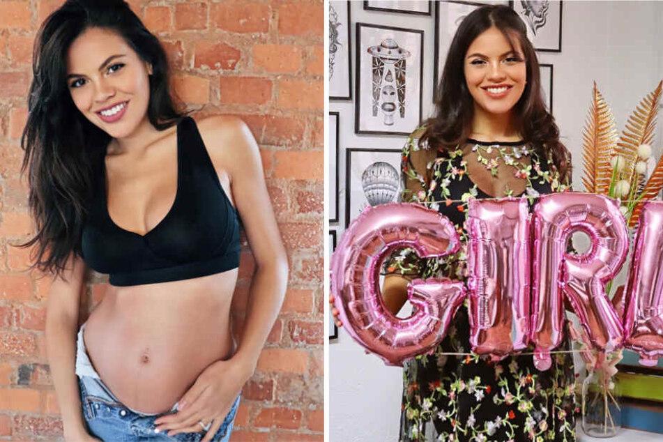 """""""It's a Girl"""": Auf einer kleinen Party mit Freunden verriet Model Bruna Rodrigues das Geschlecht ihres Kindes."""