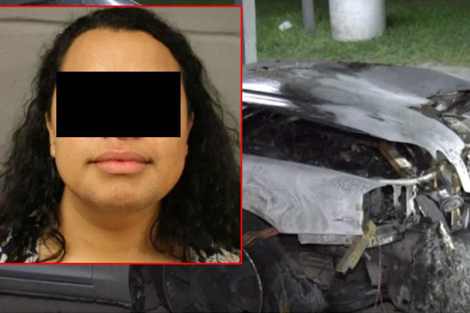 Die US-Amerikanerin sperrte ihre drei Kinder in ein brennendes Auto.