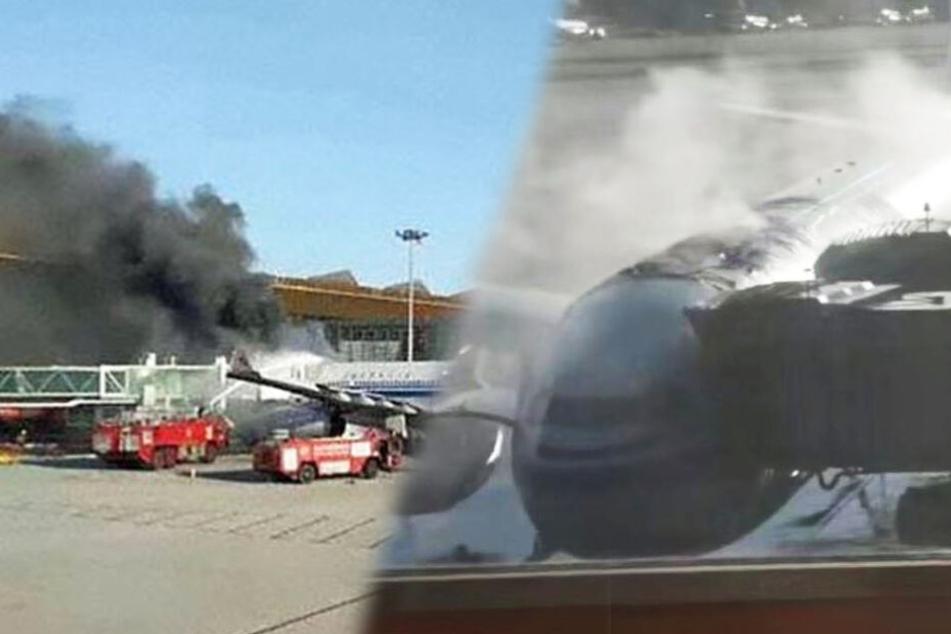 Das Feuer im Airbus A330 von Air China zieht dicke Rauchschawaden mit sich.
