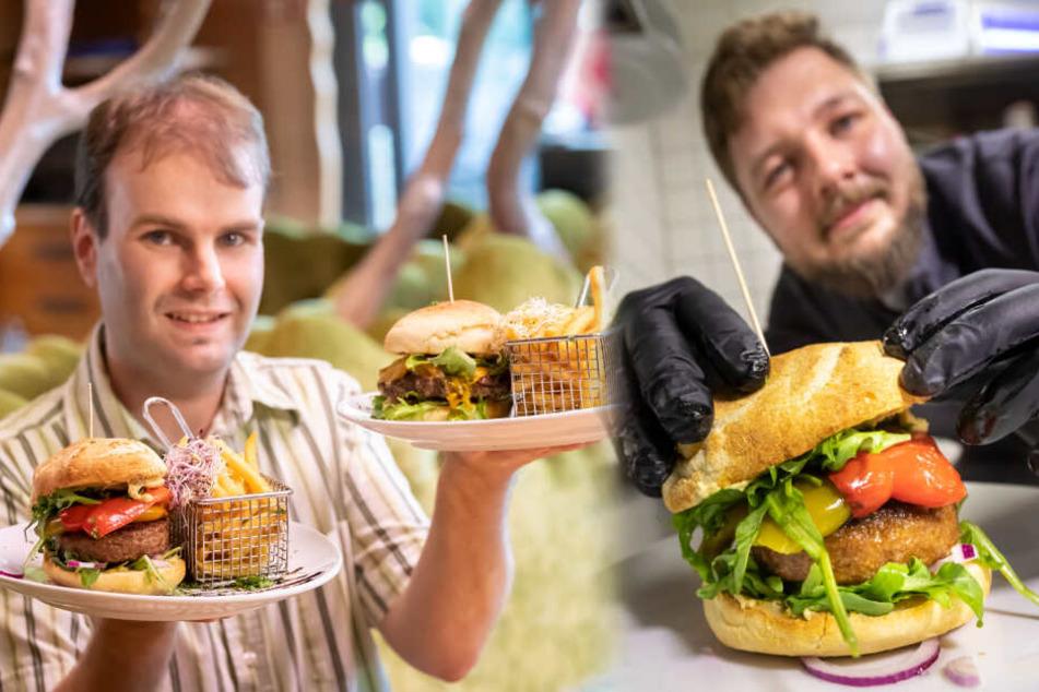 Links: Reporter Martin Gottschling beim Geschmackstest von Beyond Meat. Rechts: Thomas Brandt, stellvertretender Küchenchef im Restaurant Pelzmühle.
