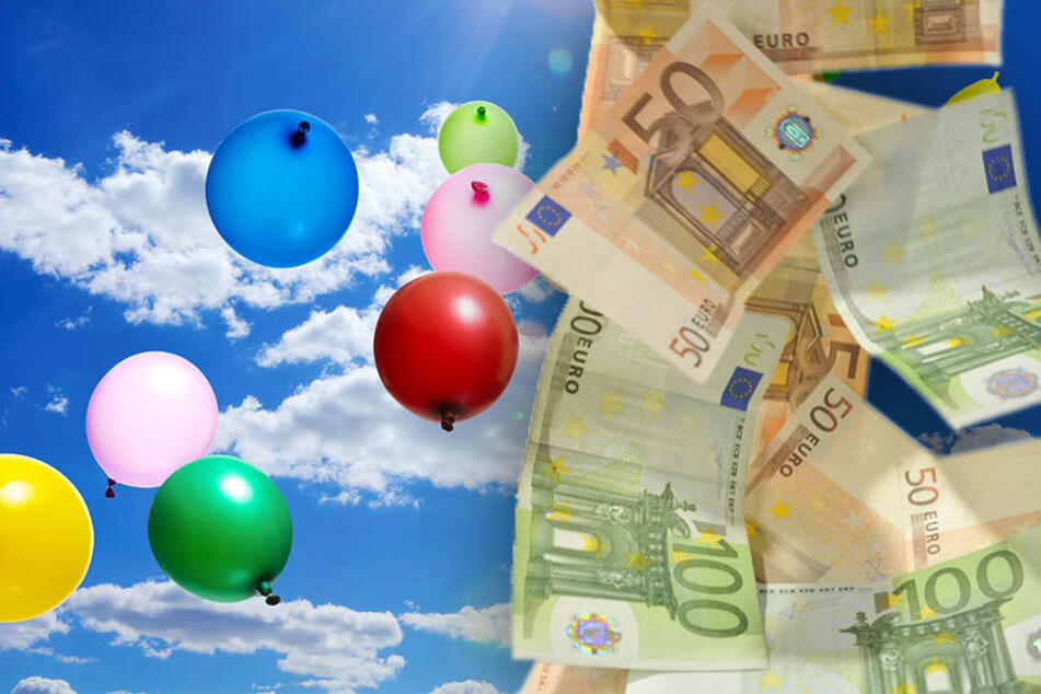 Im Polenztal sind mehrere hundert Euro in Ballons vom Himmel gefallen. (Bildmontage)