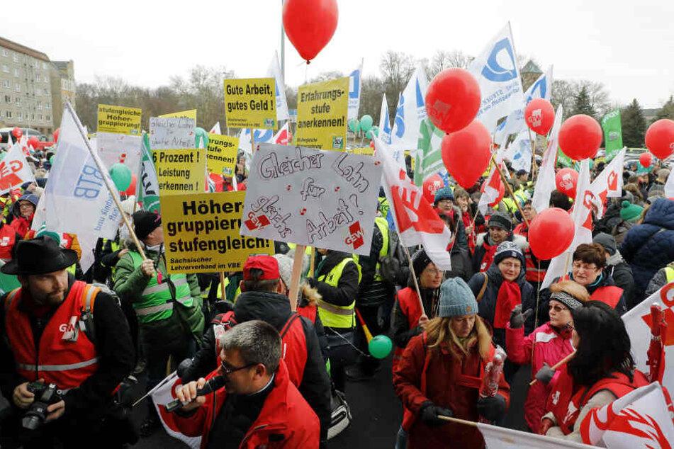 Lehrer-Streik in Chemnitz am Mittwoch.