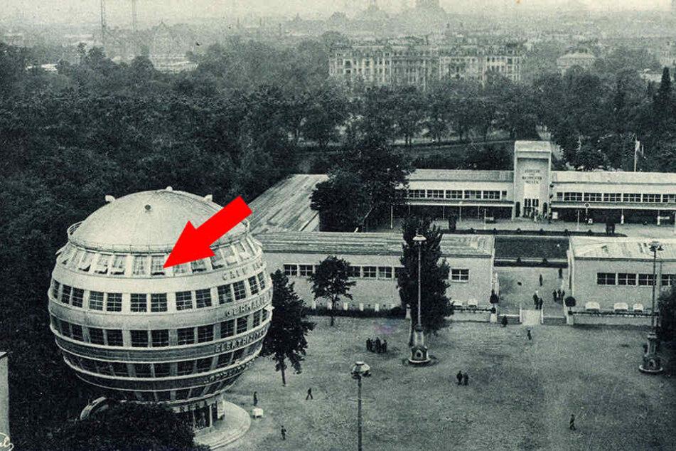 Das Kugelhaus im ehemaligen Ausstellungsgelände am Großen Garten. An der Markierung soll das Fenster eingebaut gewesen sein.