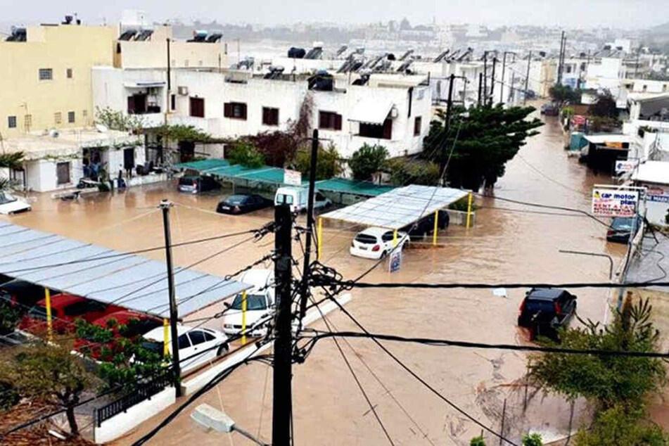Teile der griechischen Insel Kreta wurden von heftigen Regenfällen heimgesucht.