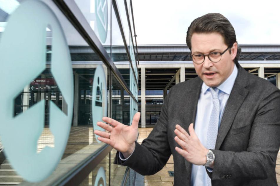 Verkehrsminister Andreas Scheuer (43, CSU) ärgert sich über die ständigen Verzögerungen am Flughafen BER. (Bildmontage)