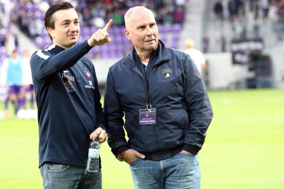 Zwischen beide passt kein Blatt Papier: FCE-Trainer Daniel Meyer (l.) und Helge Leonhardt.