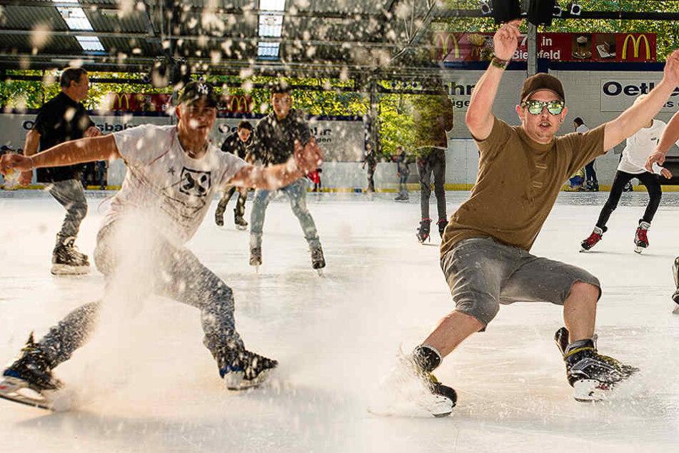 Sommerfeeling auf der Eisbahn! So verrückt cruisen Bielefelder über das Eis