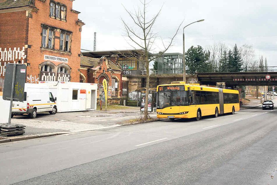 Anfang März starten die Bauarbeiten für die Stadtbahn 2020. Am Haltepunkt  Strehlen steht bis dahin ein Infocontainer.