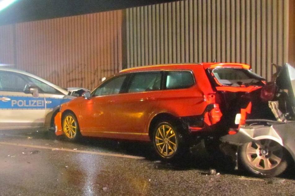 Betrunkener BMW-Fahrer kracht in Unfallstelle auf B3 und verletzt Polizist