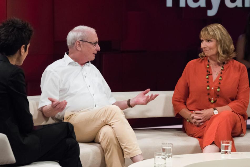 Wolfgang Osterkamp aus Borna und die sächsische Staatsministerin für Gleichstellung und Integration, Petra Köpping.