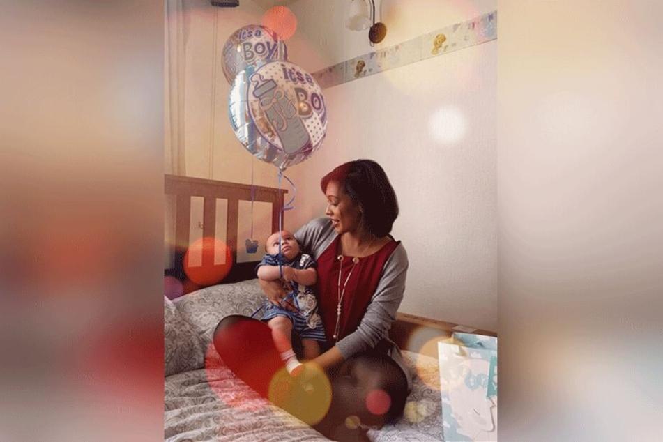 Kelly-Mary Fauvrelle mit ihrem ersten Kind.