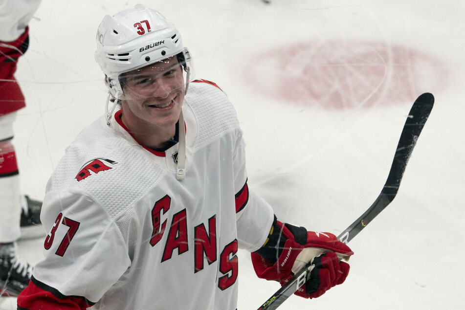 Hurricanes winger Andrei Svechnikov scored two goals and an assist in the Canes' win over the Blackhawks on Tuesday night