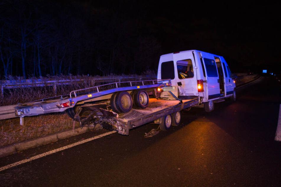 Die Geschwindigkeit des Transporters hatte er aller Voraussicht nach falsch eingeschätzt - es kam zum Crash.