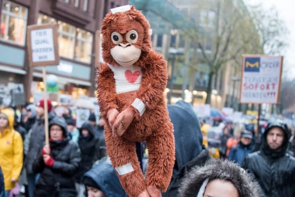 Demonstranten ziehen durch die Innenstadt und halten einen Affen aus Stoff mit Pflastern hoch.