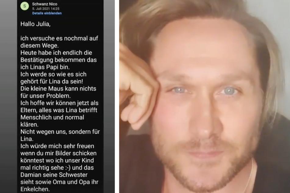 Nico Schwanz erklärte auf Instagram, er habe sehr wohl den Kontakt zu seiner Tochter gesucht.