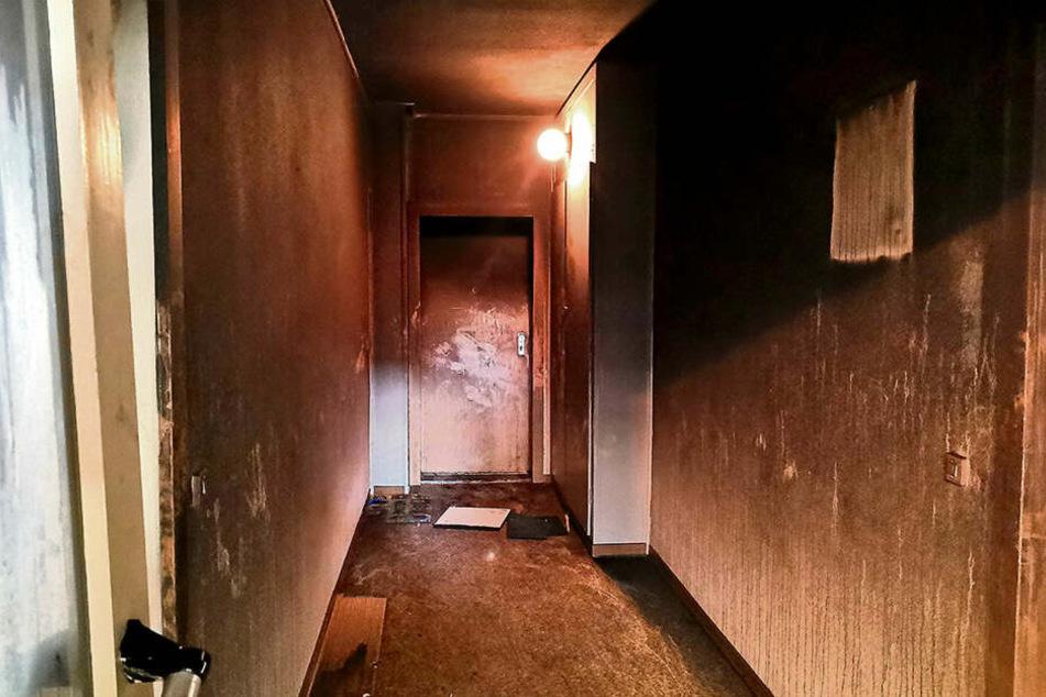 Hinter dieser Wohnungstür (hinten) nahm die Tragödie ihren Anfang. Die Mutter und zwei ihrer Kinder wurden von Feuerwehrleuten in dem Flurstück davor gefunden.