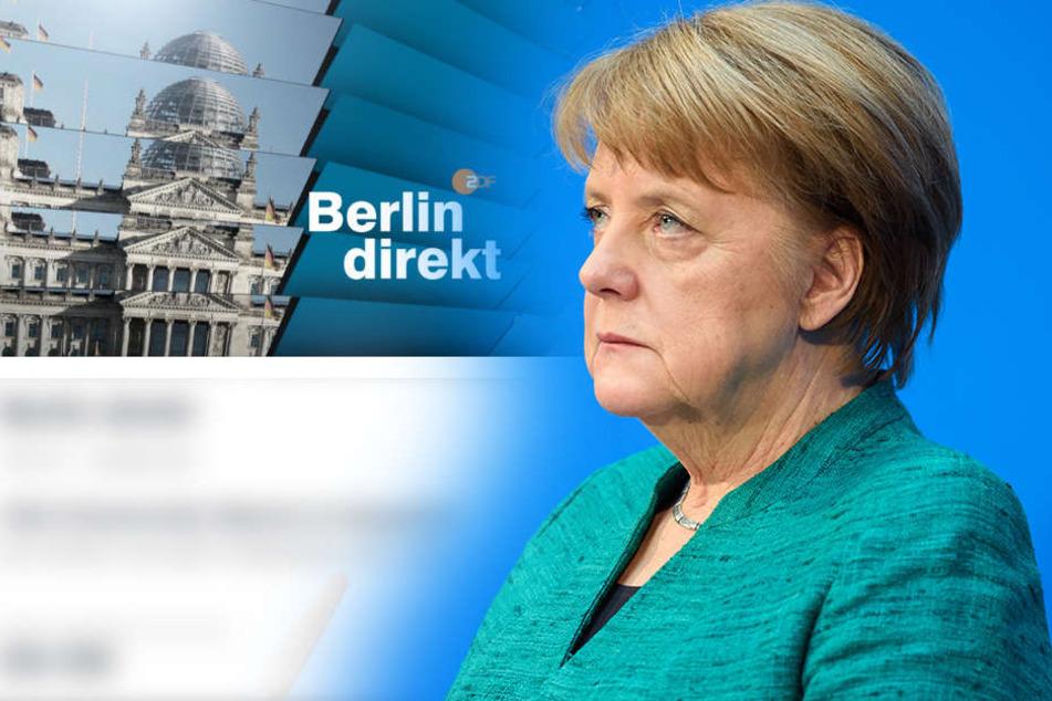 """Angela Merkel (63, CDU) stellt sich im ZDF Fragen in der Sendung  """"Berlin direkt""""."""