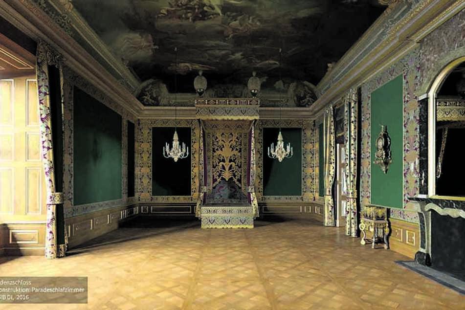 So prächtig wird das Paradeschlafzimmer mit dem riesigen Goldbett am hinteren Ende nach der Fertigstellung aussehen.