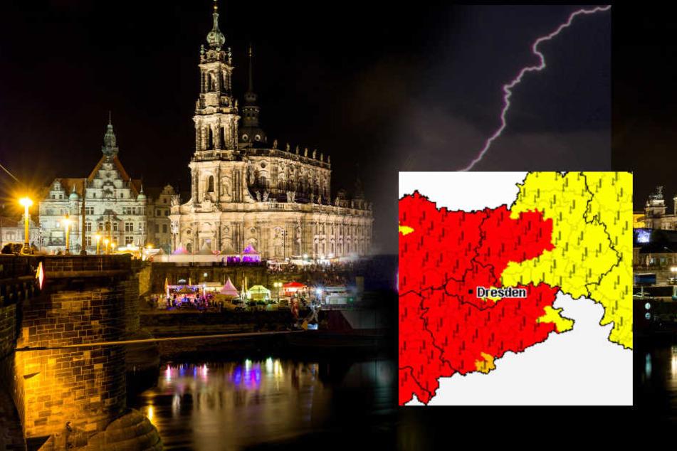 Der Wetterdienst warnt vor heftigem Gewitter in der Nacht.