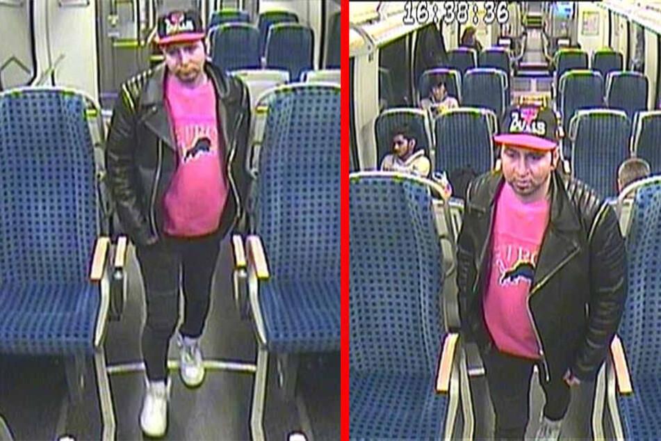 Mit Basecap, Pullover, schwarzer Lederjacke, sowie hellen Turnschuhen war der Entblößer in dem Zug unterwegs.