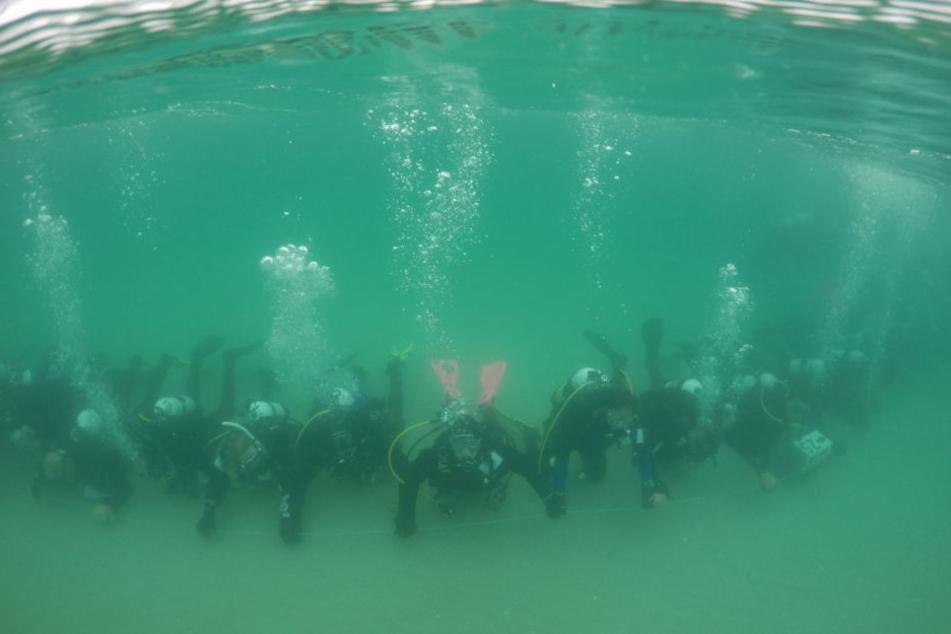 360 Taucher bildeten unter Wasser am Rye-Pier der Halbinsel Mornington vor Melbourne eine mehr als 270 Meter lange submarine Menschenkette.