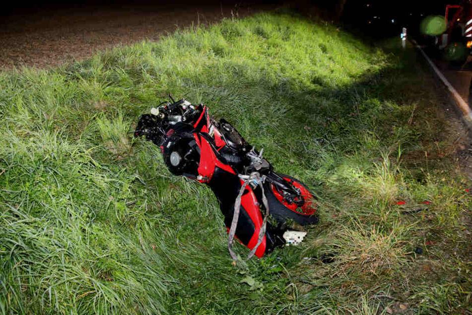 Das Motorrad des Verunglückten.
