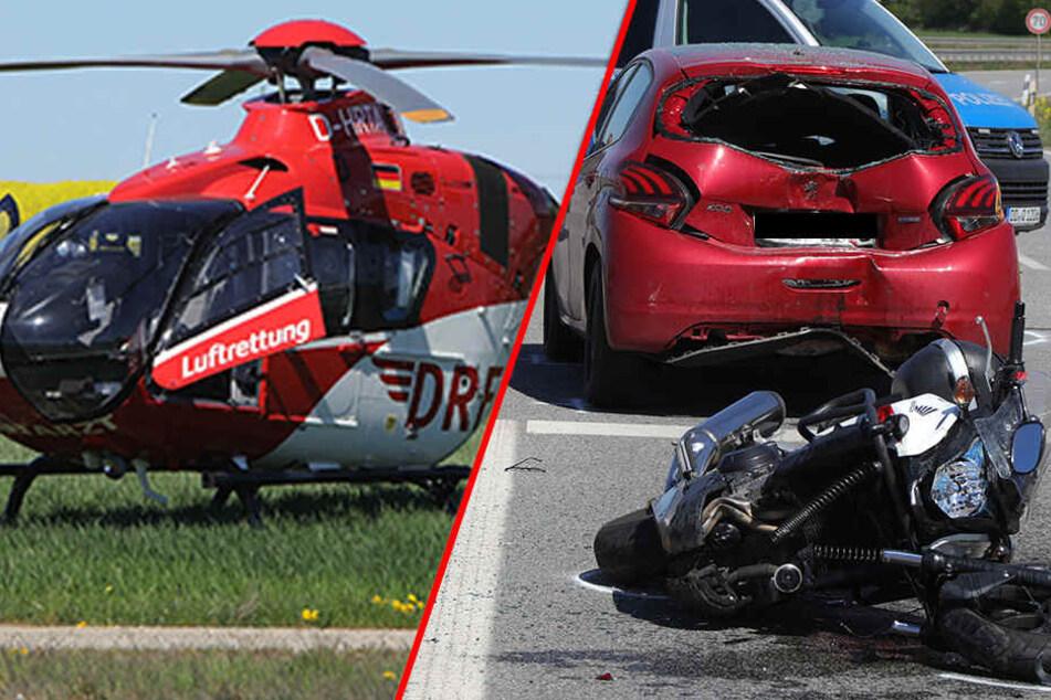 Schon wieder Crash mit Motorrad! Rettungsheli bringt Notarzt zu Unfallstelle