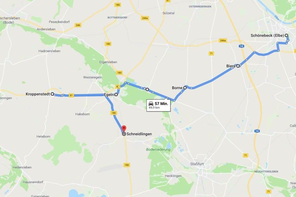 Die Strecke der Verfolgungsjagd von Schönebeck bis Schneidlingen.