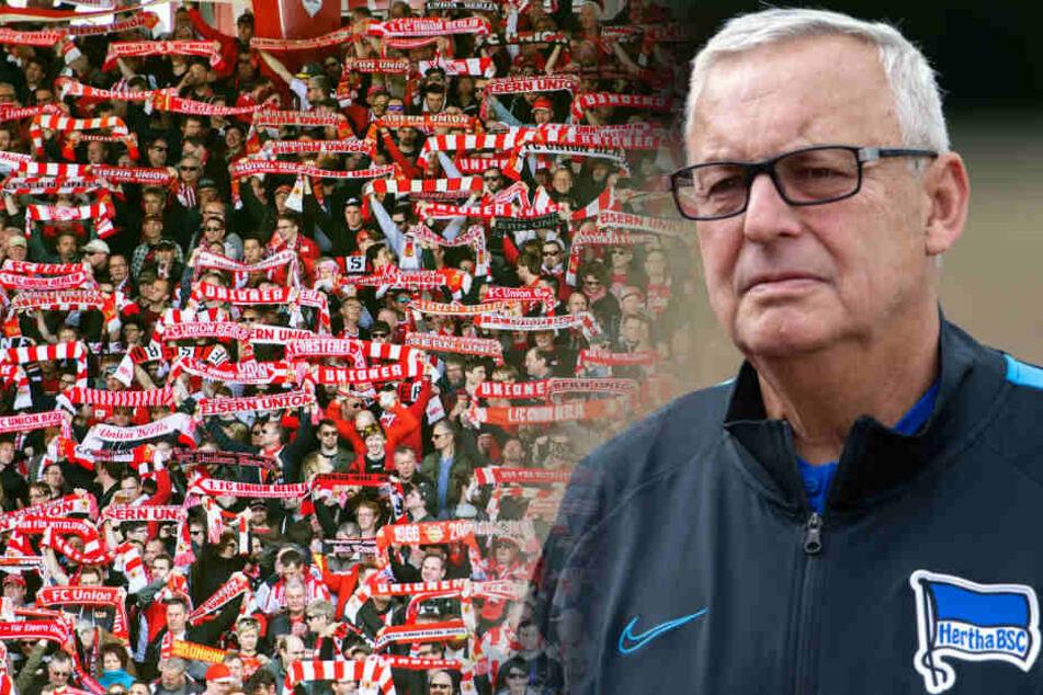 Hertha-Präsident Werner Gegenbauer hat das Stadion-Erlebnis bei Union Berlin gelobt (Bildmontage).