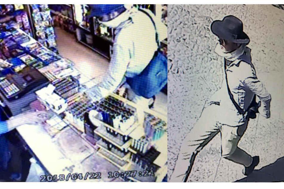 Der Tatverdächtige hat einen dunkelbraunen Haaransatz unter seinem Hut.