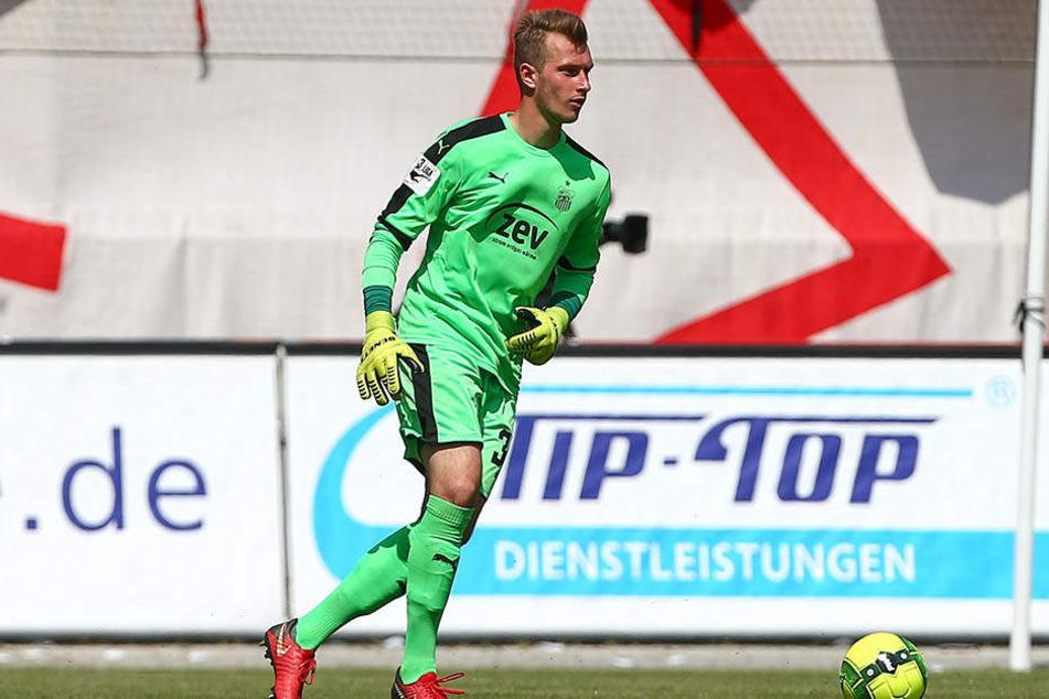 Lukas Cichos durfte beim FSV Zwickau meist nur im Training zeigen, was er als Torwart drauf hat. Ein Punktspiel-Einsatz steht für ihn zu Buche.