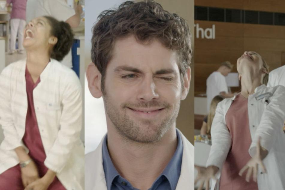 """Bei den lustigsten Outtakes der aktuellen Staffel von """"In aller Freundschaft - Die jungen Ärzte"""" kann einem schon mal das Gesicht entgleisen."""