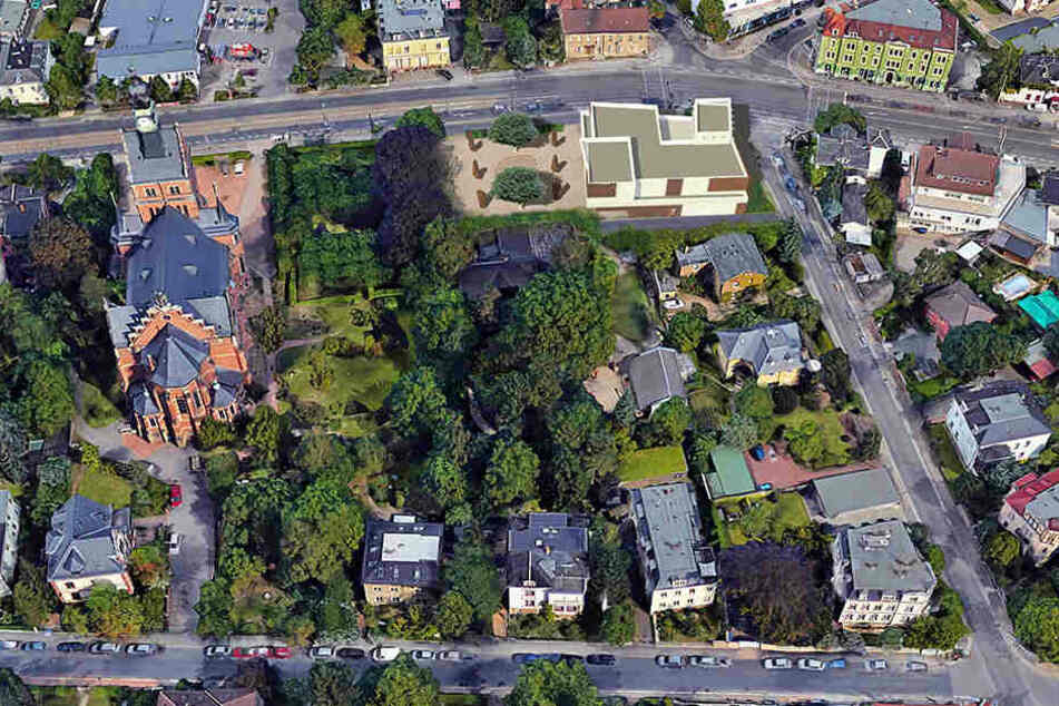 Das Museums-Areal aus der Adler-Perspektive. Oben rechts das neue Haus, unten Mitte der bisherige Eingang an der Villa Shatterhand.
