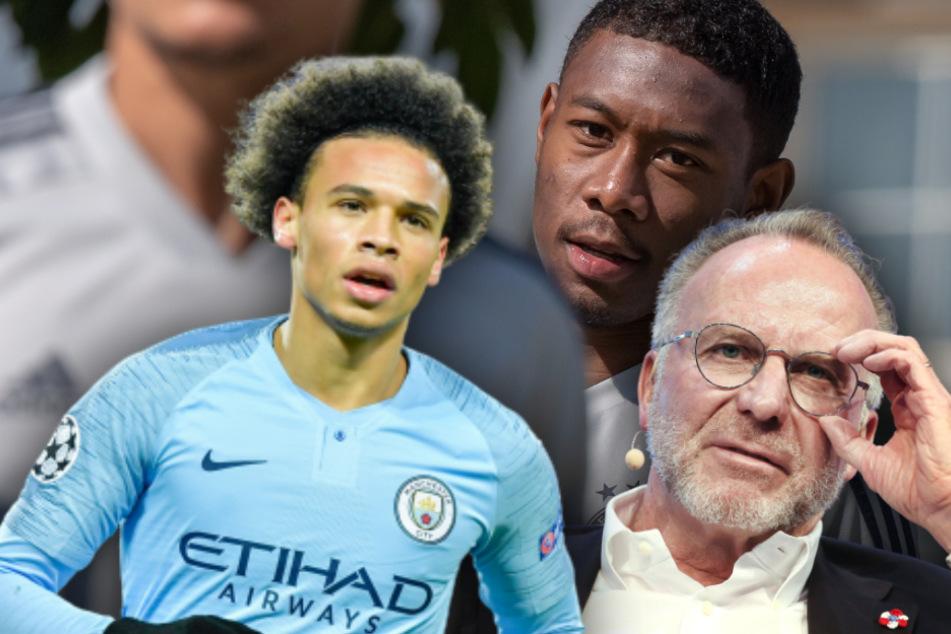 Vorstandschef Karl-Heinz Rummenigge (64, r) hat Gerüchte über einen Tausch vom Abwehrspieler David Alaba (27,m) fürLeroy Sané (24,l) dementiert. (Bildmontage)
