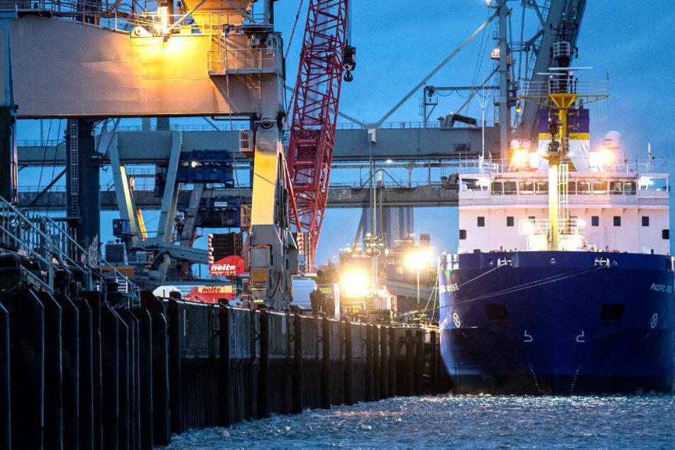 Gegen 6.40 Uhr hat das Castor-Transportschiff im Hafen von Nordenham festgemaxht.