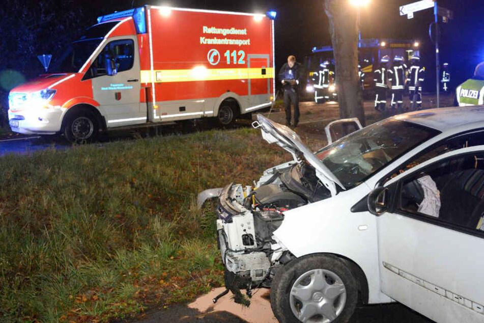 Frau kracht mit Auto gegen Schilder und Baum: Zwei Schwerverletzte