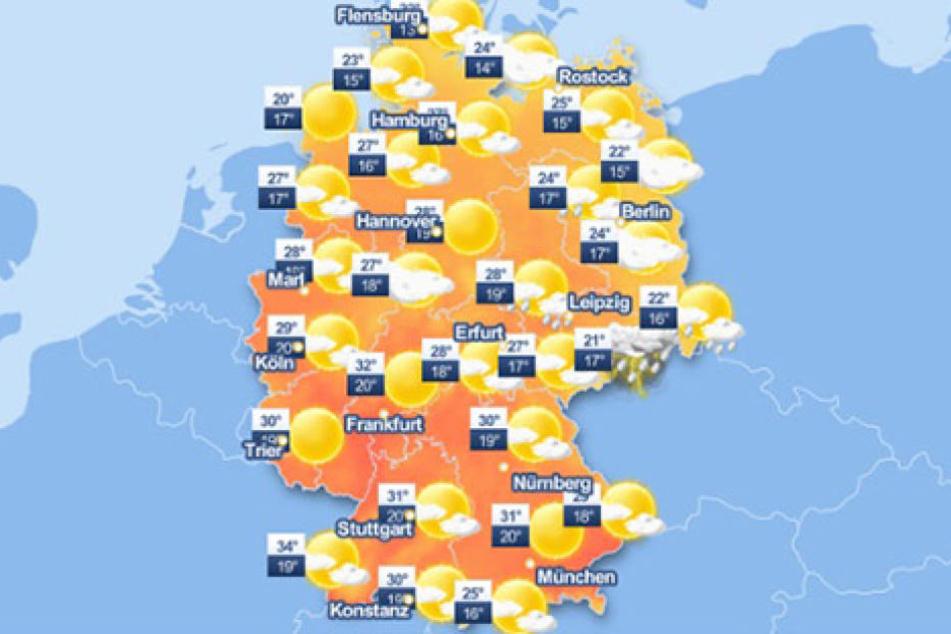 Besonders im Osten Deutschlands kommt es am Freitag häufig zu Unwettern.