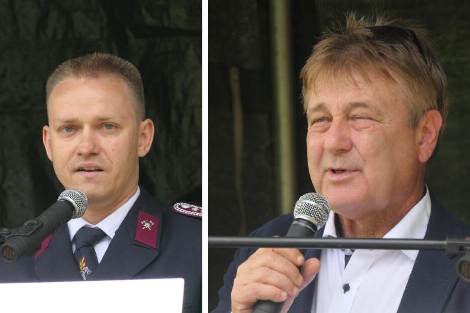 Leipzigs Ex-Polizeipräsident Bernd Merbitz (rechts) und Organisation Tommy Schmidt hielten Eröffnungsreden.