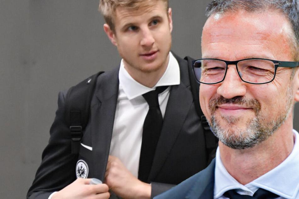 Die Verhandlungen laufen: Eintrachts Sportvorstand Fredi Bobic (Re.) buhlt um einen Verbleib von Martin Hinteregger (Fotomontage).