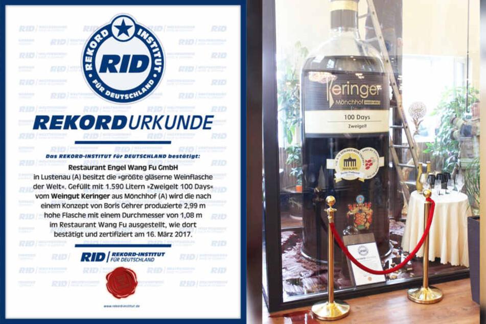 Die fast drei Meter hohe Glasflasche ist ein offizieller Weltrekord.